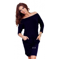 70095 NU Sporty dress with sleeves 3/4 - NAVY