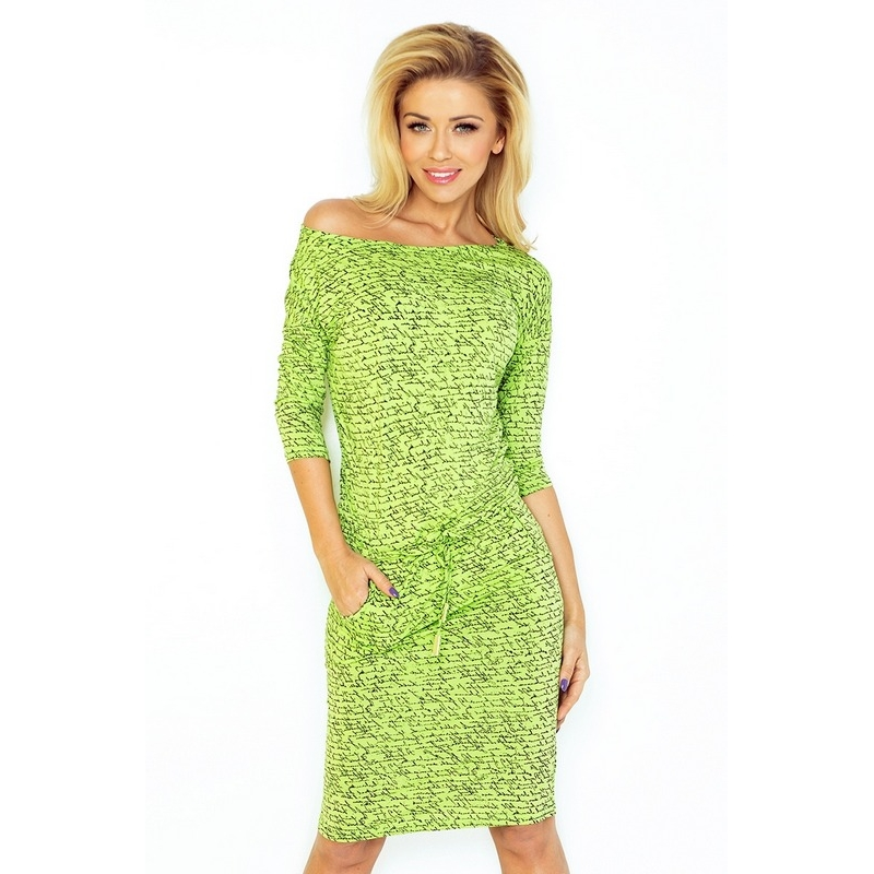 70098 NU Sporty dress with sleeves 3/4 - LIGHT GREEN