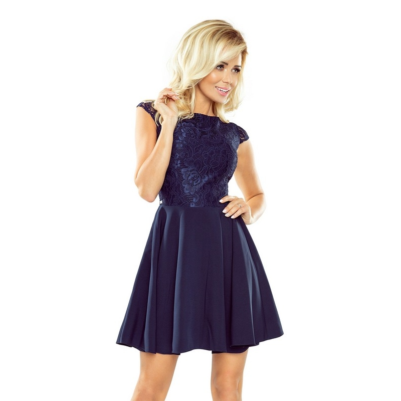 70129 NU Mini dress with lace - navy