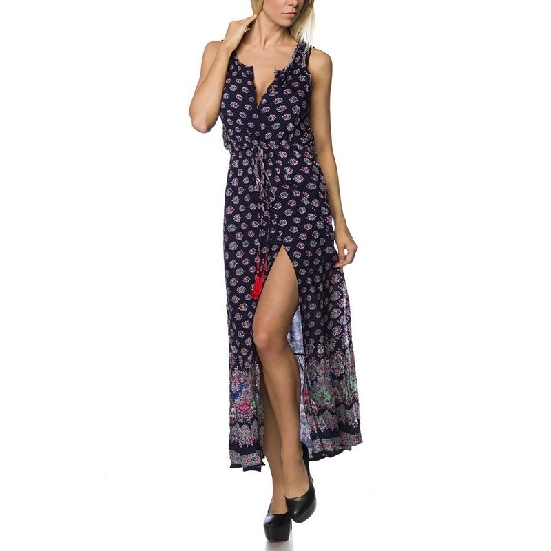 8577 AX Εμπριμέ μακρύ φόρεμα - Μπλε σκούρο