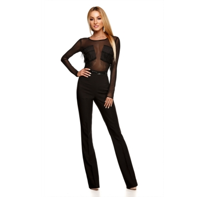 9223 RO MAXI jumpsuit with a transparent tulle-Black