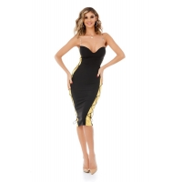 9305 RO Midi dress with a bust with push up cups - Black/Gold