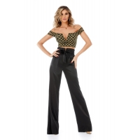 9306 RO Chic set with high waist trousers and bustier - Black/Gold