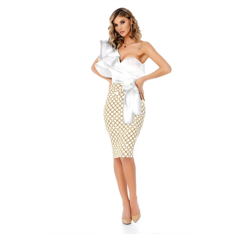 9310 RO Midi stylish dress with mulled top - White/Gold