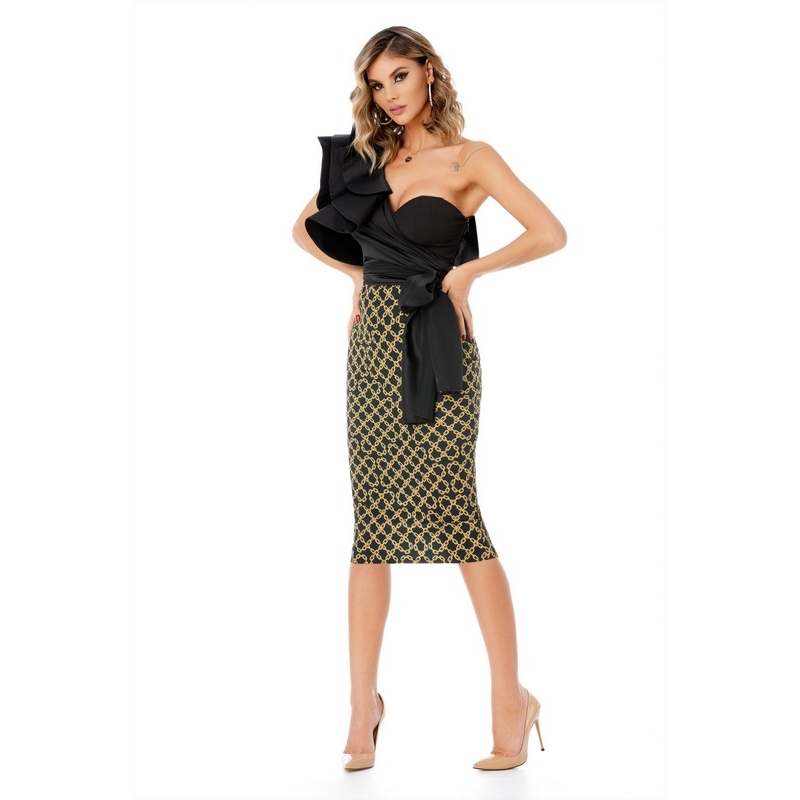 9311 RO Midi stylish dress with mulled top - Black/Gold
