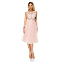 9324 RO A princess-style MIDI dress with a white lace top - Light Pink