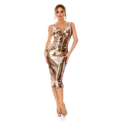 Εντυπωσιακό μίντι φόρεμα με παγιέτες - Χρυσό 9296