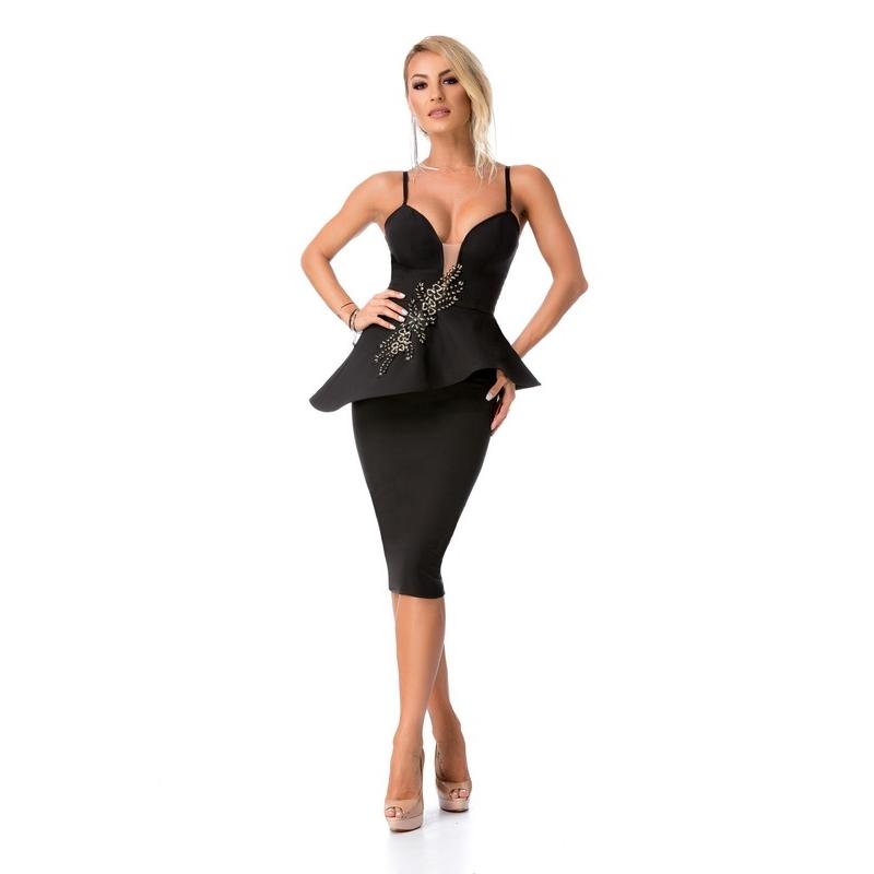 Κομψό μίντι φόρεμα με κέντημα