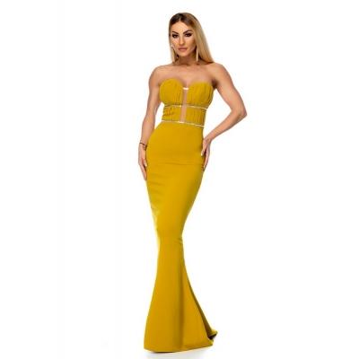 Μάξι στράπλες φόρεμα με στρας - Μουσταρδί 9275