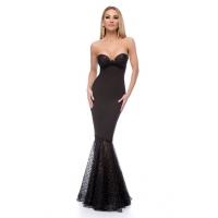 Μάξι στράπλες γοργονέ φόρεμα με glitter