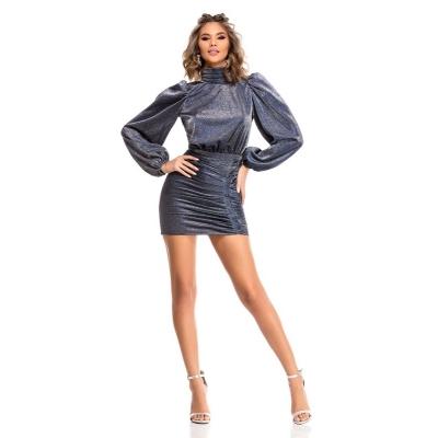 Μίνι φόρεμα με μακριά μανίκια και ανοιχτή πλάτη - Μπλε Μεταλλιζέ 9323