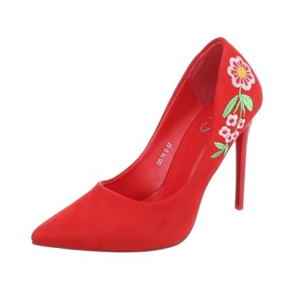 Σουέτ γυναικείες γόβες με κέντημα - Κόκκινες 0668