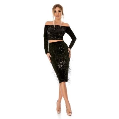 Θηλυκό σετ με τοπ και φούστα από βελούδο και παγιέτες - Μαύρο 9293