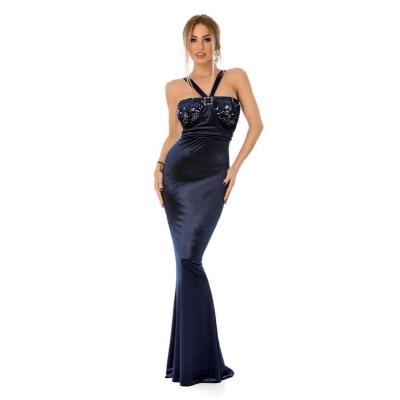 Βραδινό μάξι βελούδινο φόρεμα με παγιέτες - Μπλέ 9298