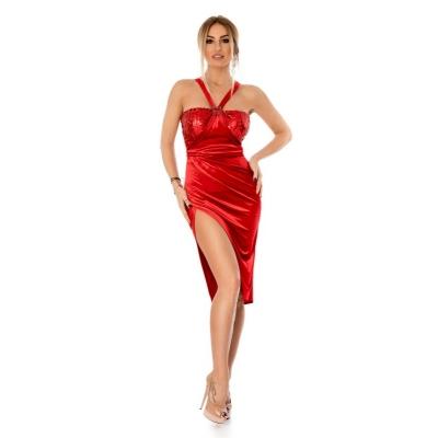 Βραδινό μίντι βελούδινο φόρεμα με παγιέτες - Κόκκινο 9294