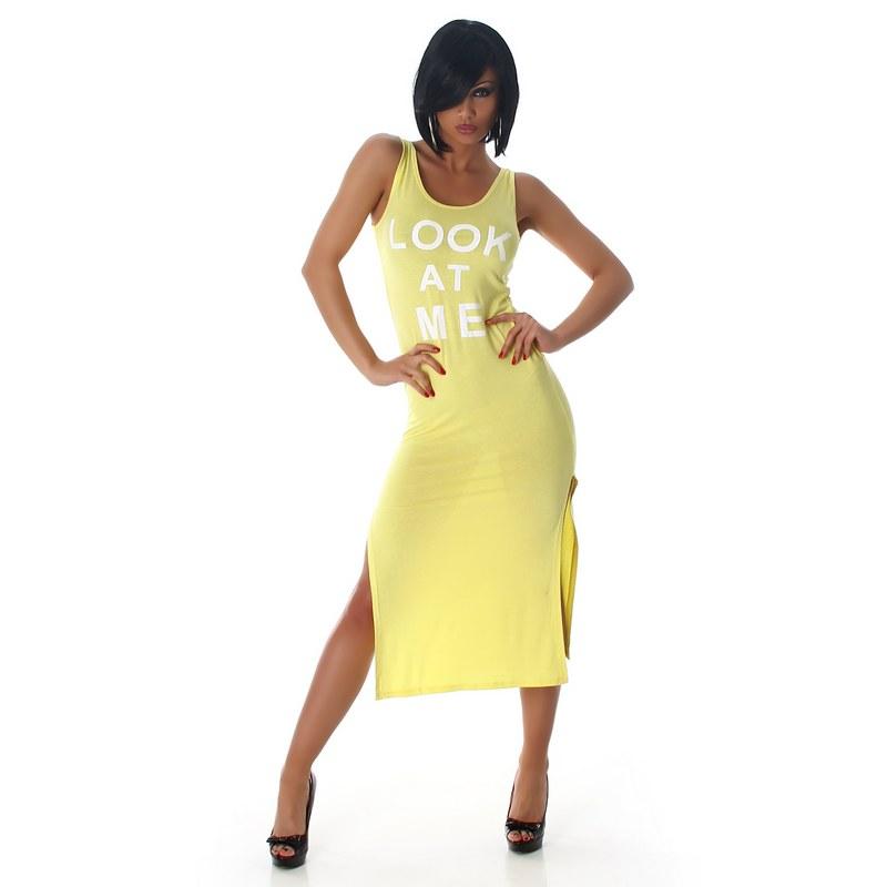 6799 LX Μίντι φόρεμα με σκισίματα στο πλάϊ -Κίτρινο