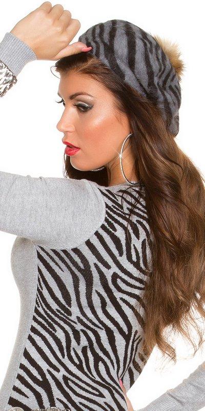 41008 FS Μοντέρνο καπέλο Zebra με pompom-Ανθρακί