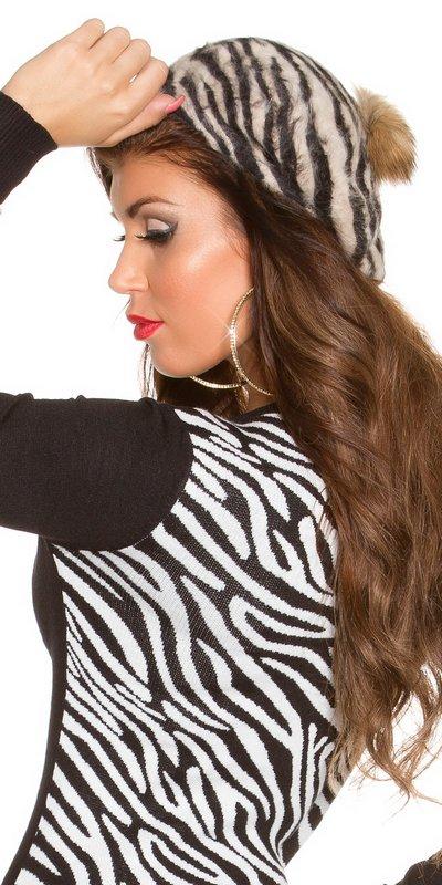 41009 FS Μοντέρνο καπέλο Zebra με pompom-Μπεζ