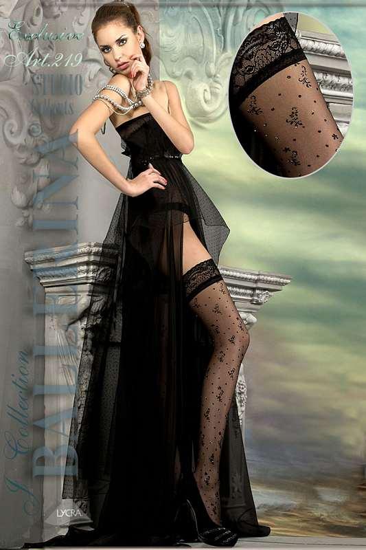 52bc34f1e5d 2204 BA Μαύρες κάλτσες με σιλικόνη και floral κέντημα-Μαύρο