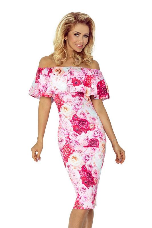 70088 NU Μίντι φόρεμα με τριαντάφυλλα και βολάν - ρόζ-Ροζ