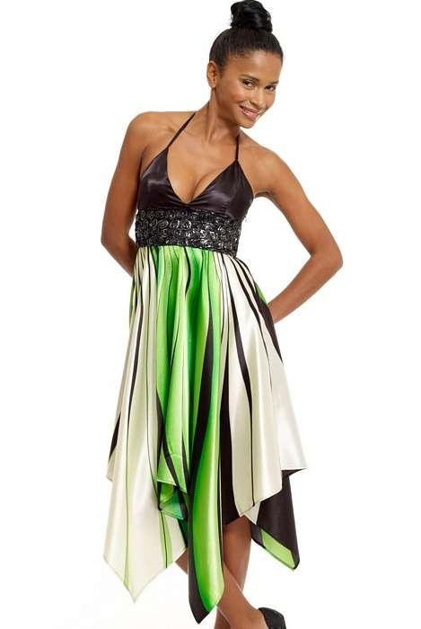 9025 GB Ασύμμετρο σατέν φόρεμα-Πρασινο
