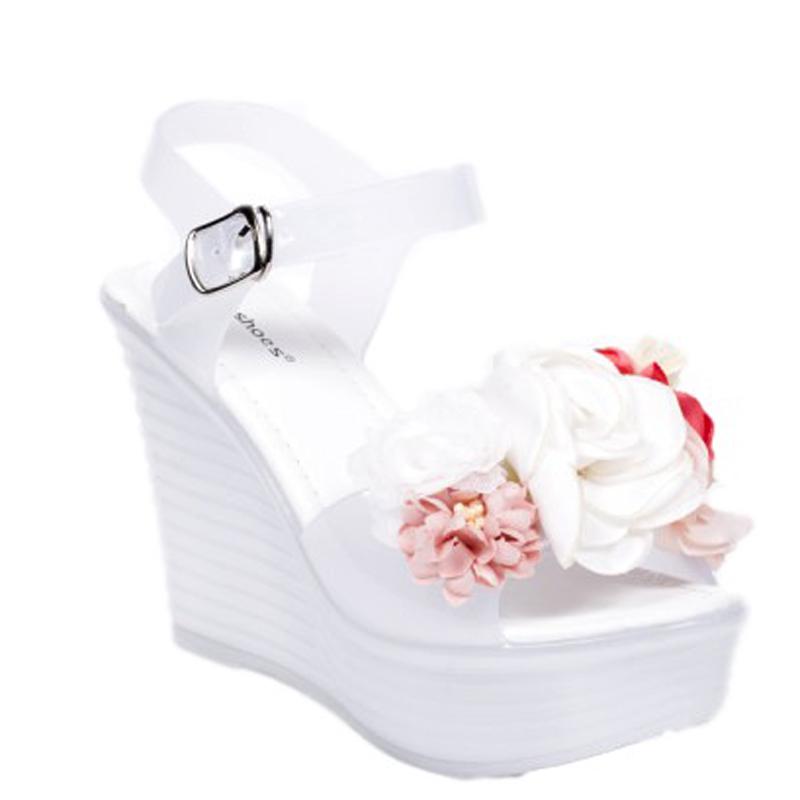 744fd0869a9 -29% Tsiamita 0748 ID Γυναικείες πλατφόρμες με διακοσμητικά λουλούδια  -'Ασπρο-Ασπρο