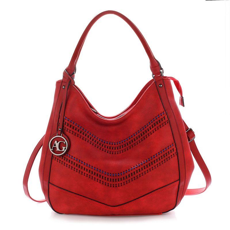 1372 AG Γυναικεία τσάντα ώμου Hobo AG00554 - Κόκκινη-Κοκκινο