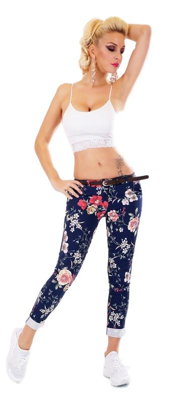 31078 SD Floral παντελόνι με ζώνη - Μπλέ-Μπλε