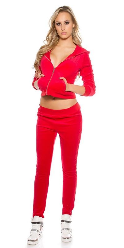 41762 FS Φόρμα jogging βελουτέ - κόκκινη-Κοκκινο