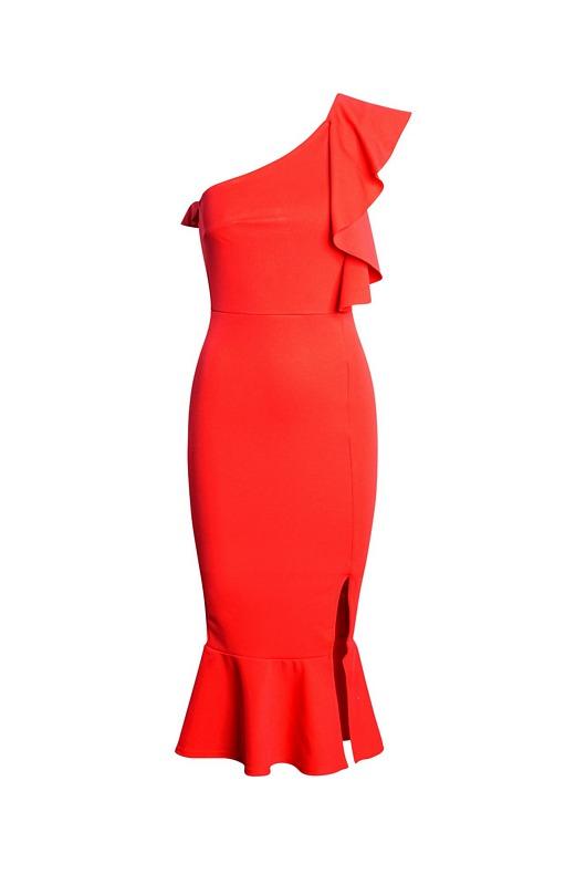 52610 CW Μίντι κρέπ φόρεμα με βολάν και έναν ώμο - Κόκκινο-Κοκκινο