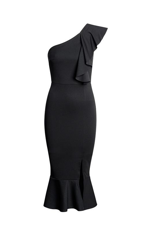 52611 CW Μίντι κρέπ φόρεμα με βολάν και έναν ώμο - Μαύρο-Μαύρο