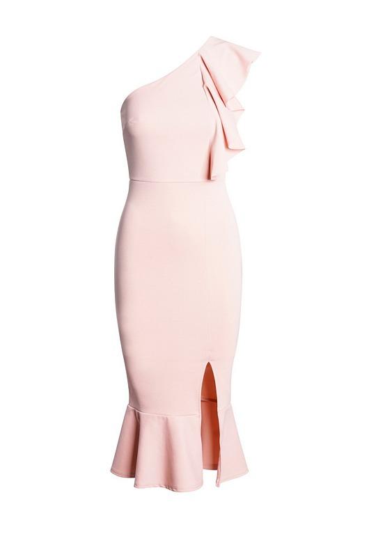 52612 CW Μίντι κρέπ φόρεμα με βολάν και έναν ώμο - Ροζ Απαλό-Ροζ