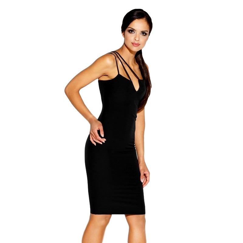 625204dbde3a Tsiamita 60030 DR Ελαστικό μίντι φόρεμα - Μαύρο-Μαύρο