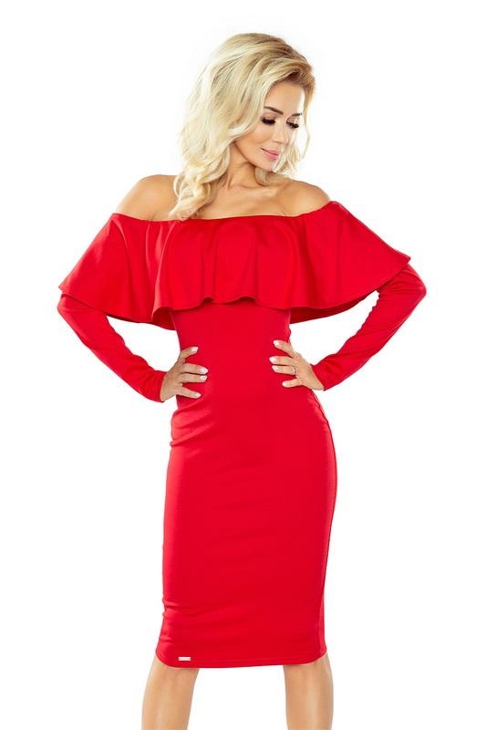 70112 NU Μακρυμάνικο μίντι φόρεμα με βολάν - κόκκινο-Κοκκινο