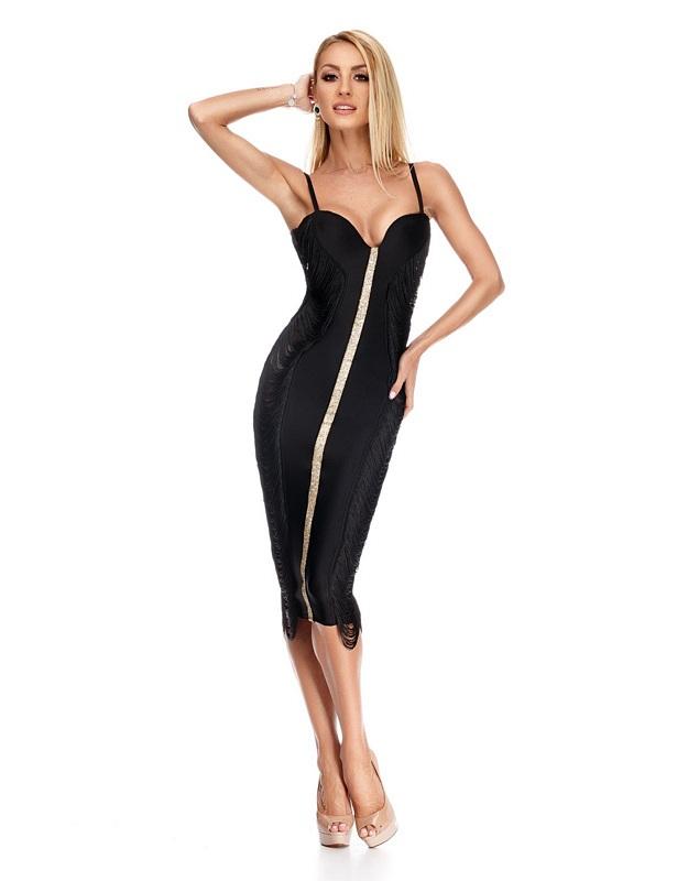 9207 RO Εντυπωσιακό μιντι φόρεμα με κρόσια - Μαύρο-Μαύρο