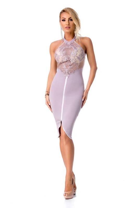033db6d9e570 Tsiamita 9277 RO Κομψό μίντι φόρεμα με δαντέλα - Λιλά-Λιλά